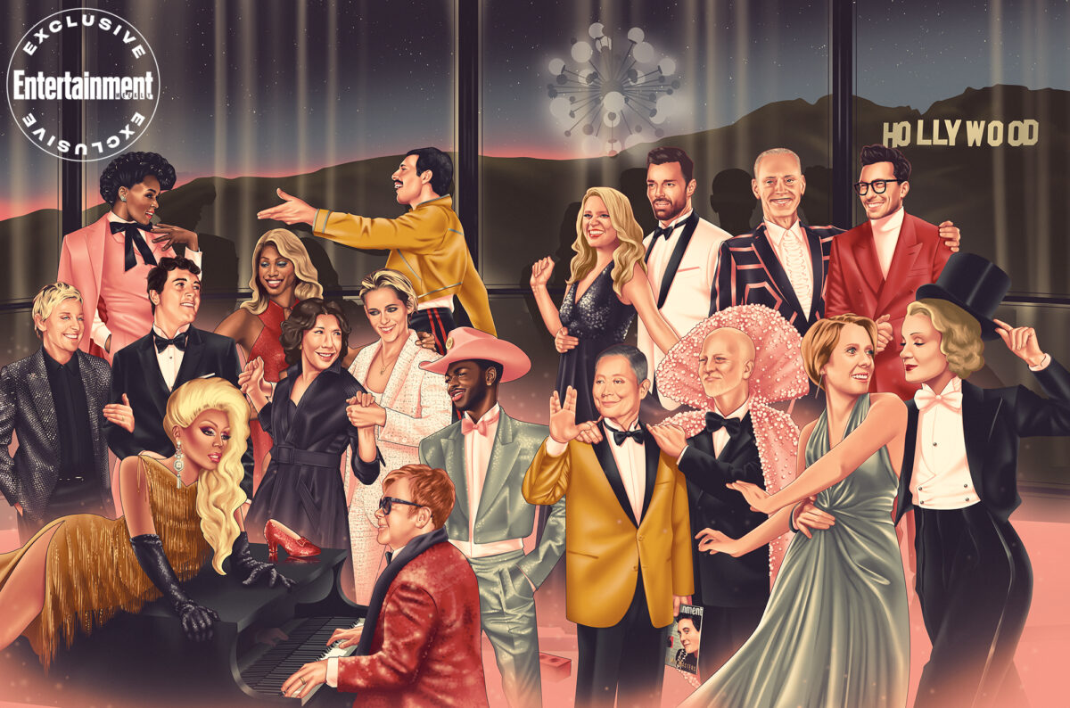 a collection of LGBTQ icons meets for a party in the uncanny valley on EW's cover