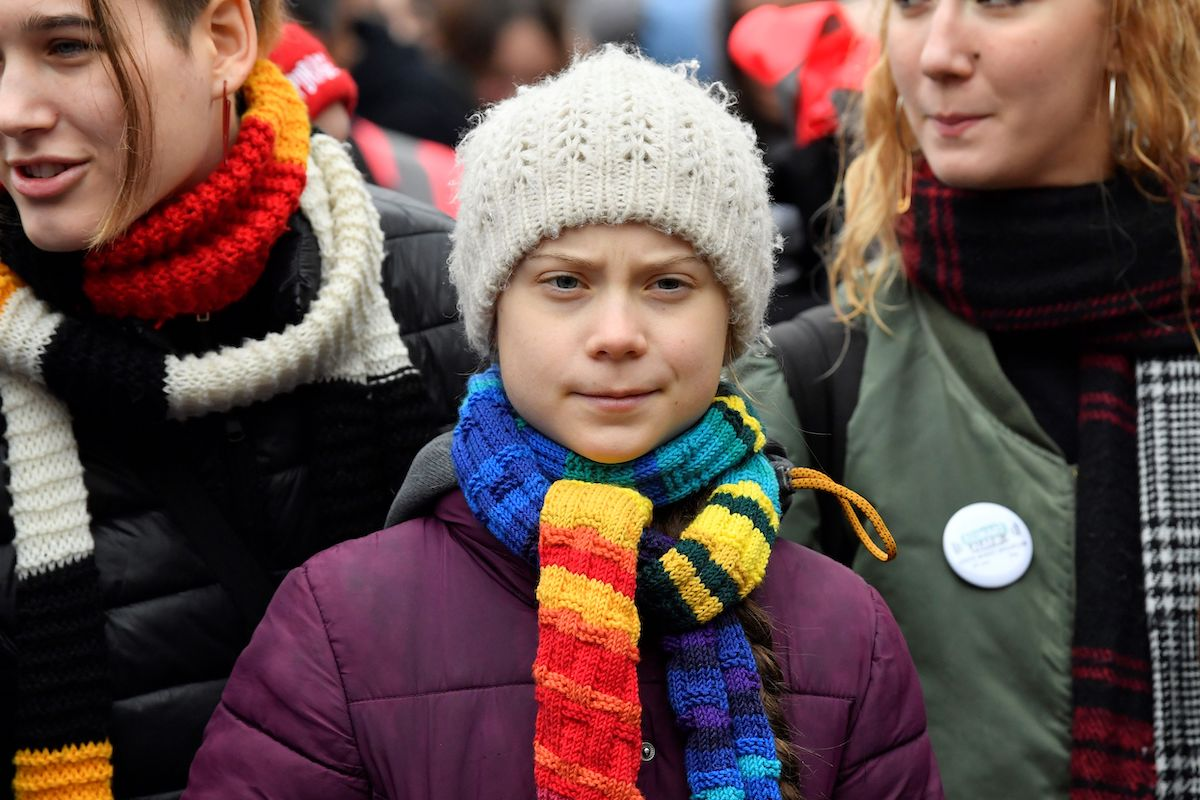 """Greta Thunberg takes part in a """"Youth Strike 4 Climate"""" protest march"""