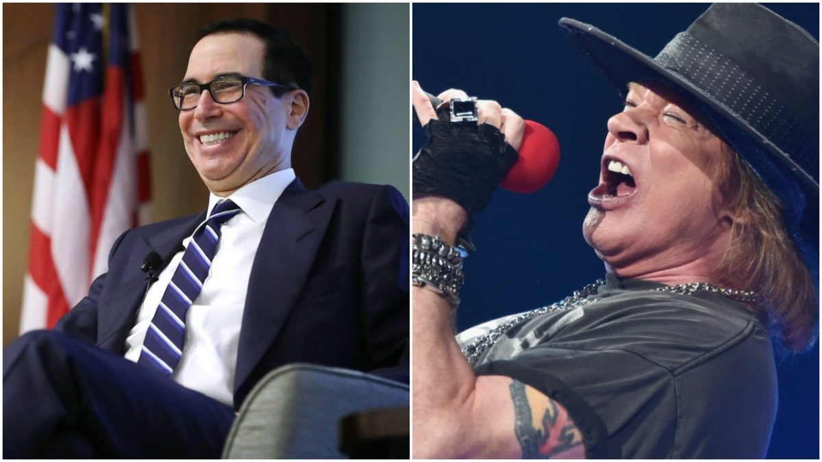 Steve mnuchin and axl rose collage