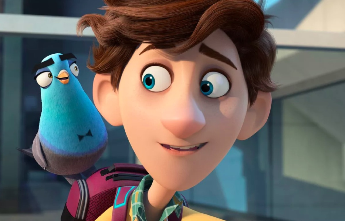 Tom Holland and Will Smith's characters (Walter and Lance as a pigeon) in Spies in Disguise.