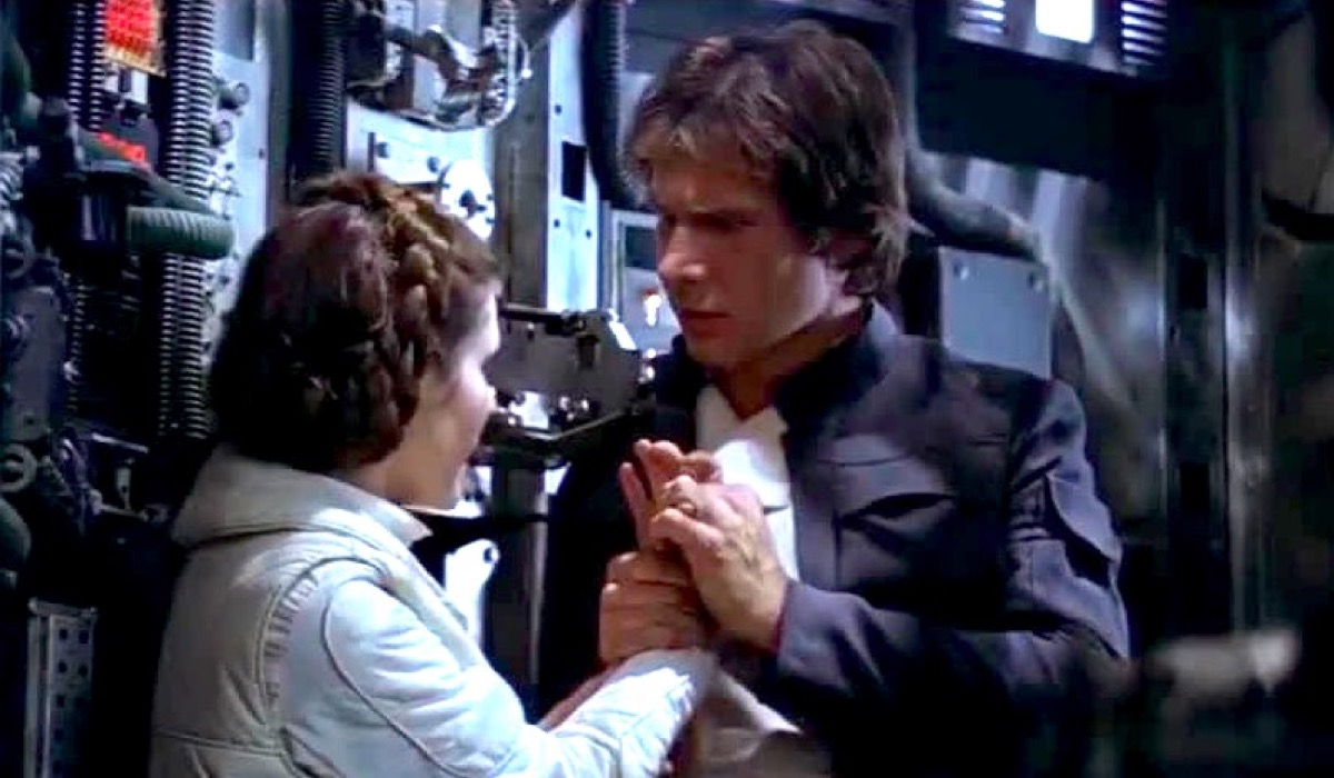 Han and Leia kiss scene in Star Wars: The Empire Strikes Back.