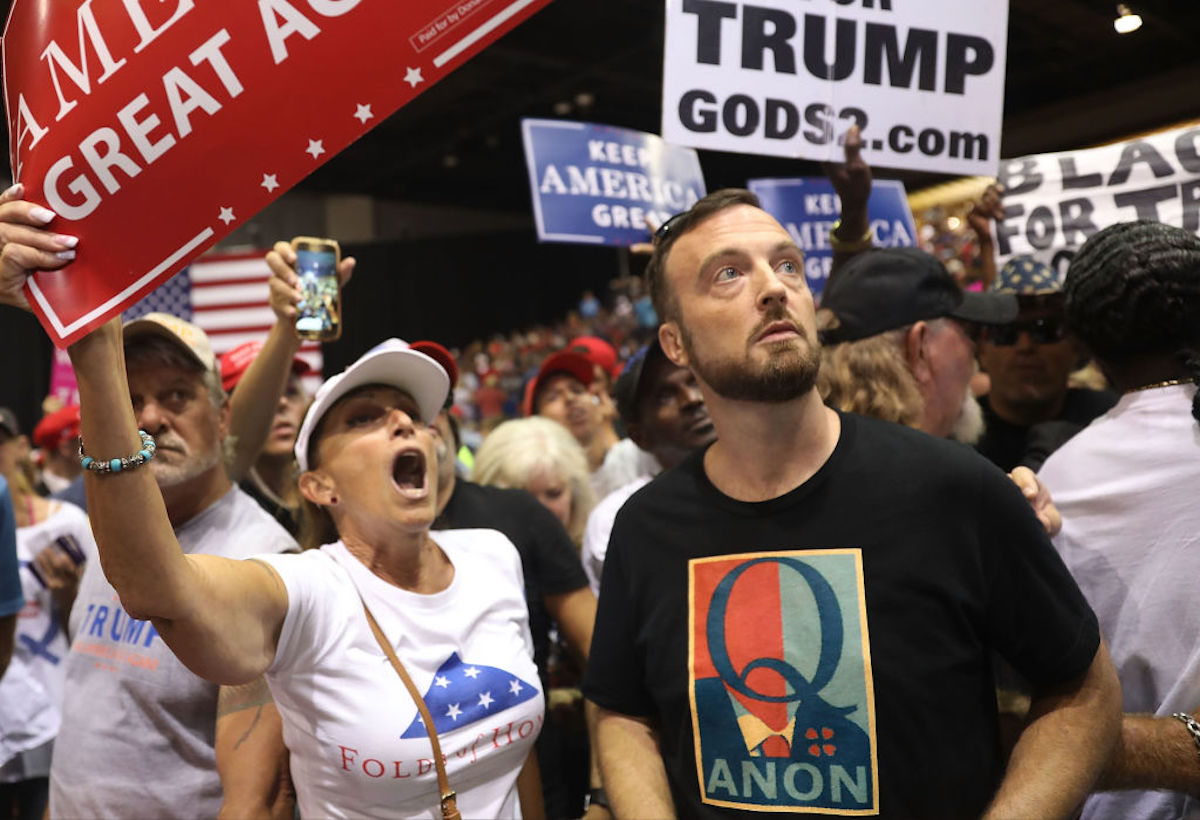 QAnon conspiracy theorists promote Trump