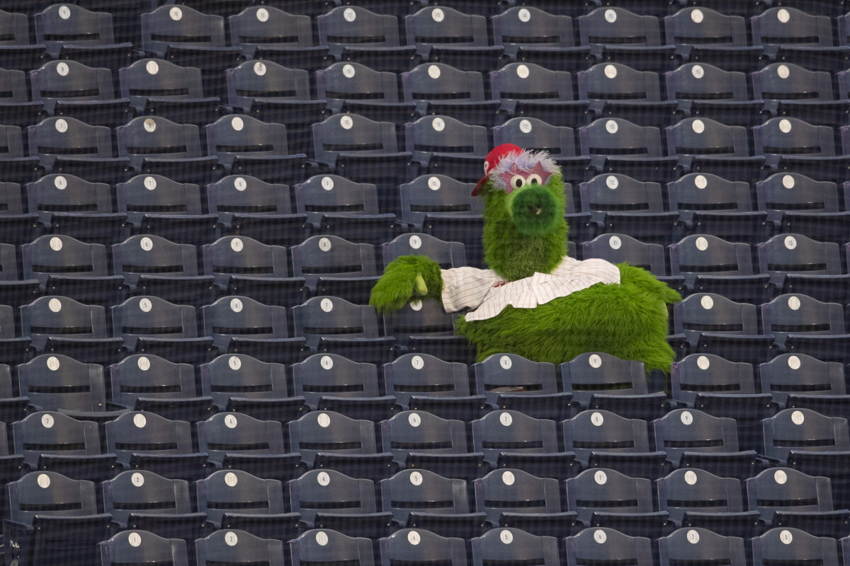 Philly Phanatic just sadly watching a game alone