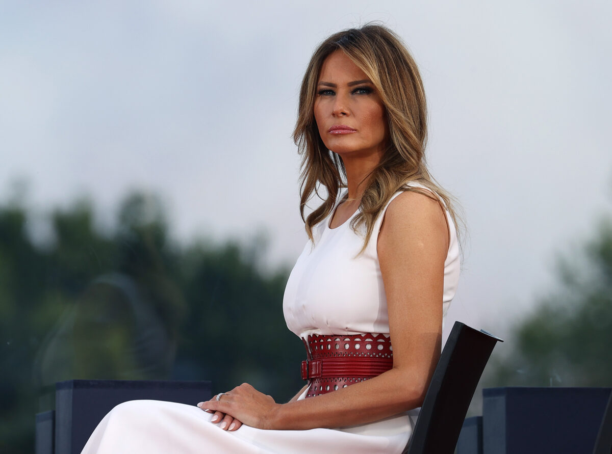 "WASHINGTON, DC - JULY 04: First Lady Melania Trump attends an event on the South Lawn of the White House on July 04, 2020 in Washington, DC. President Trump is hosting a ""Salute to America"" celebration that includes flyovers by military aircraft and a large fireworks display. (Photo by Tasos Katopodis/Getty Images)"