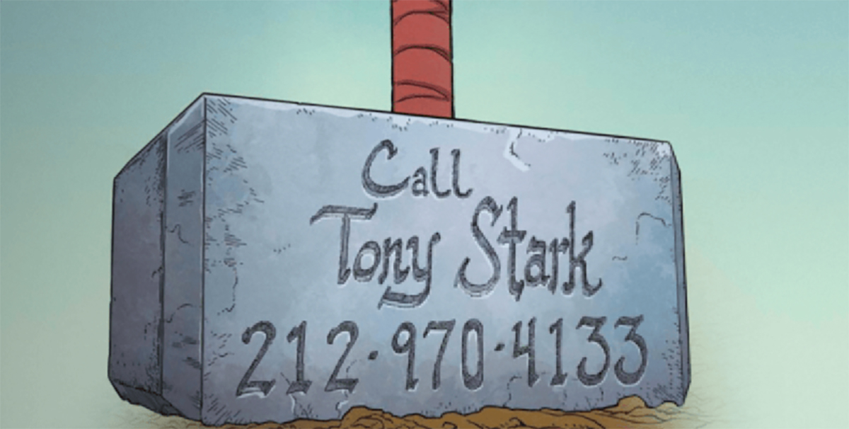 Thor puts Tony Stark's number on his hammer