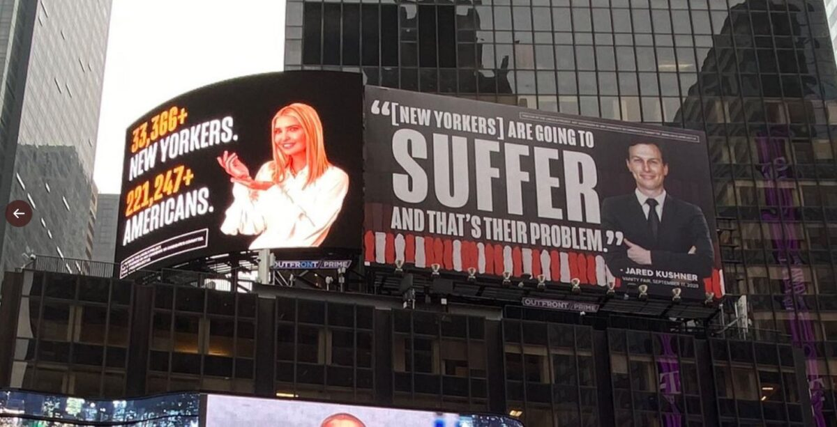 Why Times Square Billboards Have Jared Kushner, Ivanka Trump Threatening To Sue