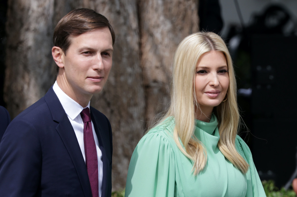 Jared Kushner and Ivanka Trump on the South Lawn of the White House