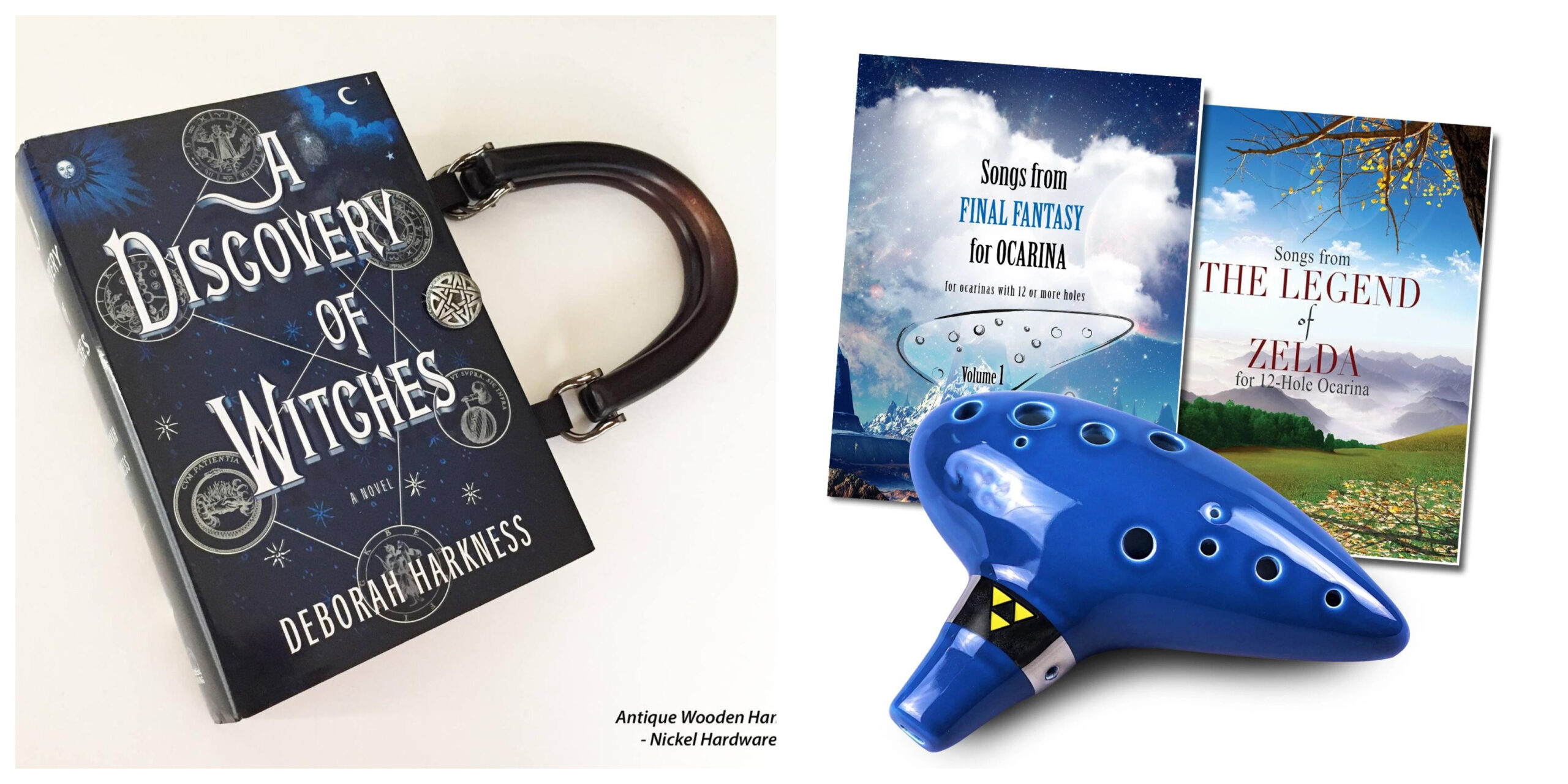 A Discovery of Witches Book Purse and Legend of Zelda Ocarina