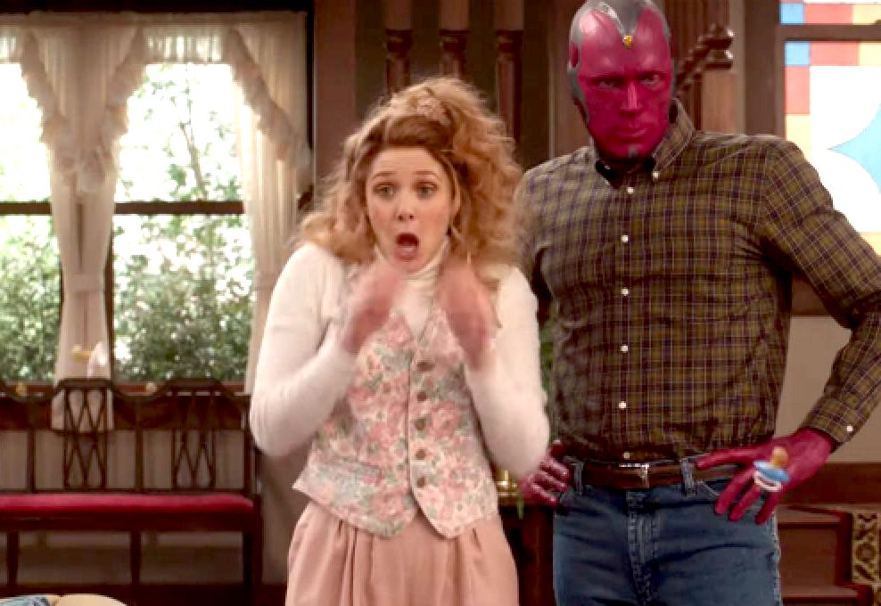 Wanda and Vision in '80s clothes in Marvel and Disney+'s WandaVision.