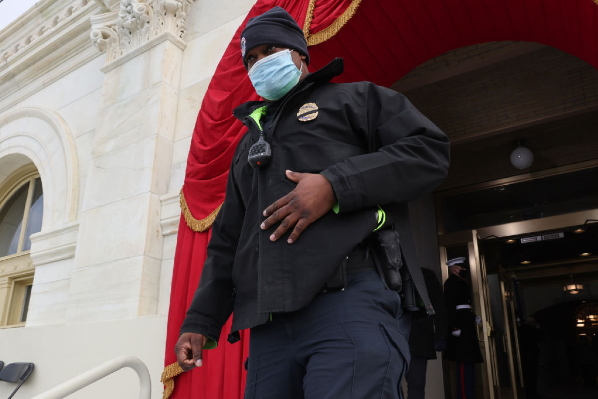 U.S. Capitol Police Officer Eugene Goodman, hailed by many for his heroism during the January 6 attack on the U.S. Capitol, participates in a the dress rehearsal for the inauguration of President-elect Joe Biden at the Capitol on January 18, 2021 in Washington, DC