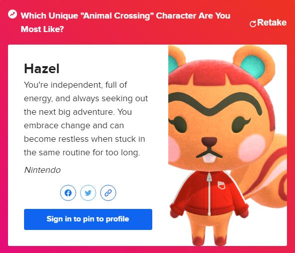Screencap of the Animal Crossing Quiz from Buzzfeed