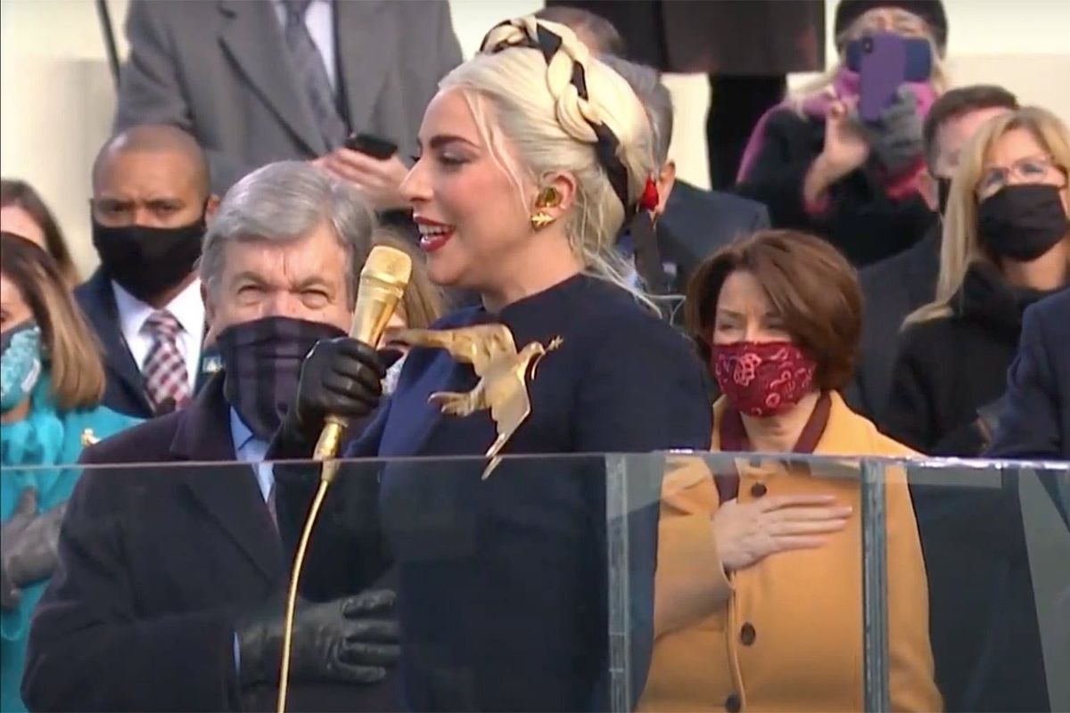 Lady Gaga performing at the Biden/Harris inauguration.