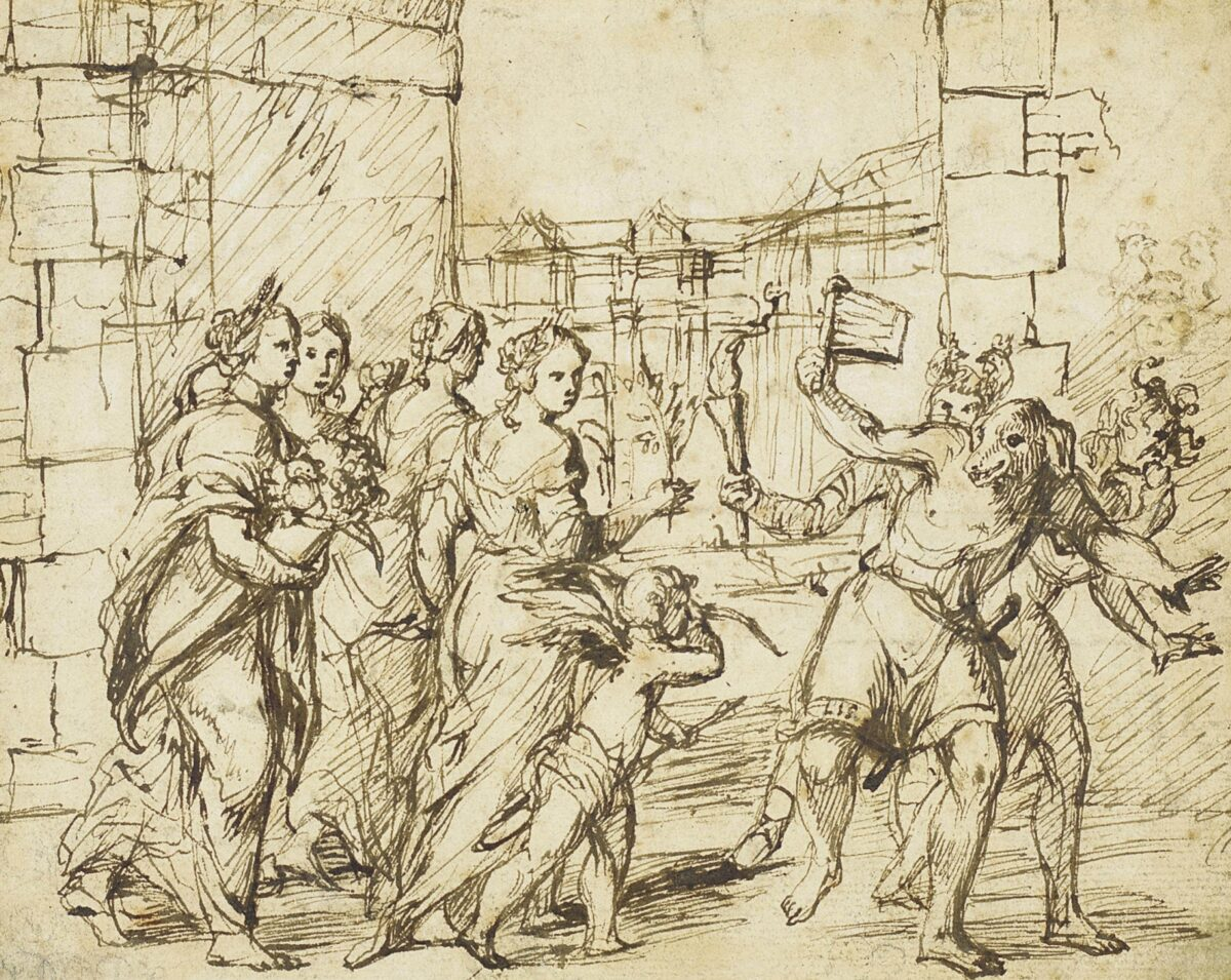 The Lupercalian Festival in Rome(ca. 1578–1610), drawing by thecircle of Adam Elsheimer, showing the Luperci dressed as dogs and goats, withCupidandpersonificationsof fertility