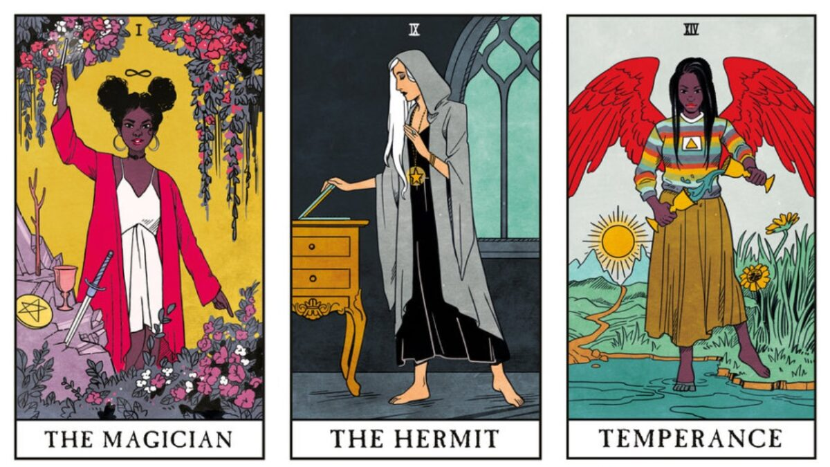 collage: the magician, the hermit and termperance from the Modern witch tarot
