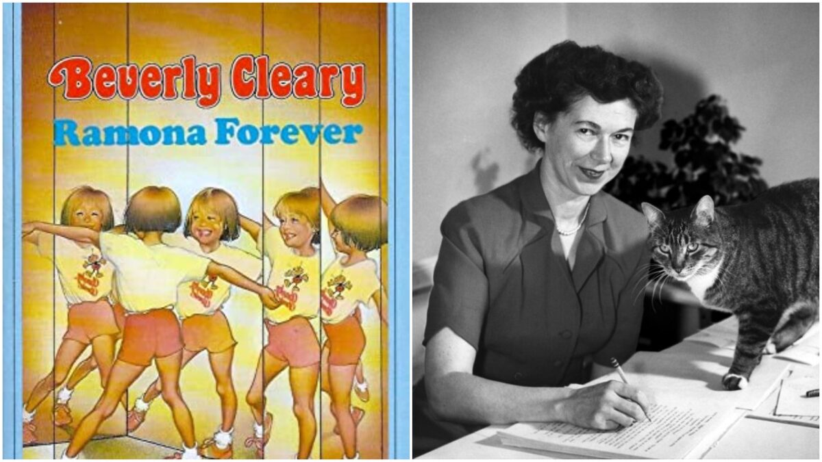 collage: the cover of Ramona Forver and a 1955 headshot of Beverly Clearly