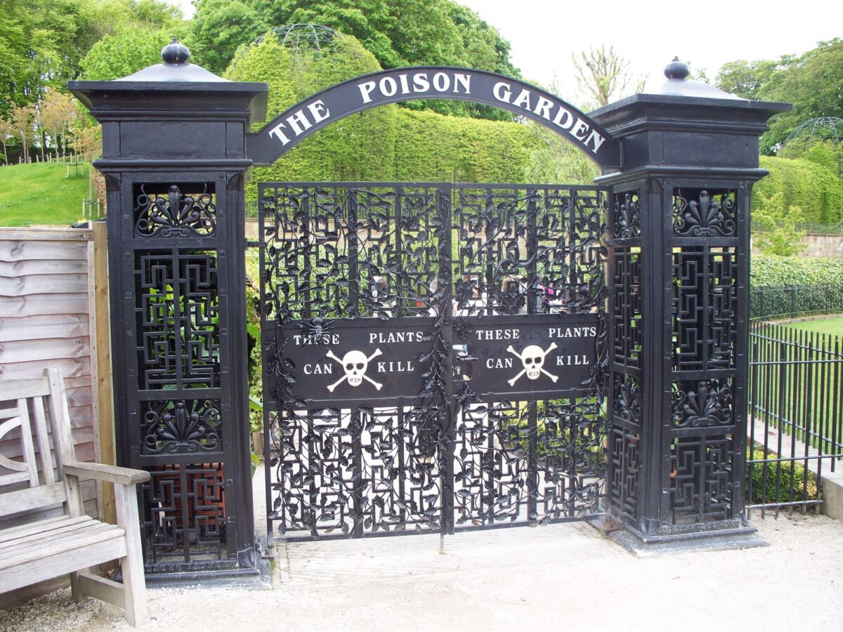 the gates to the poison garden in Alnwick england
