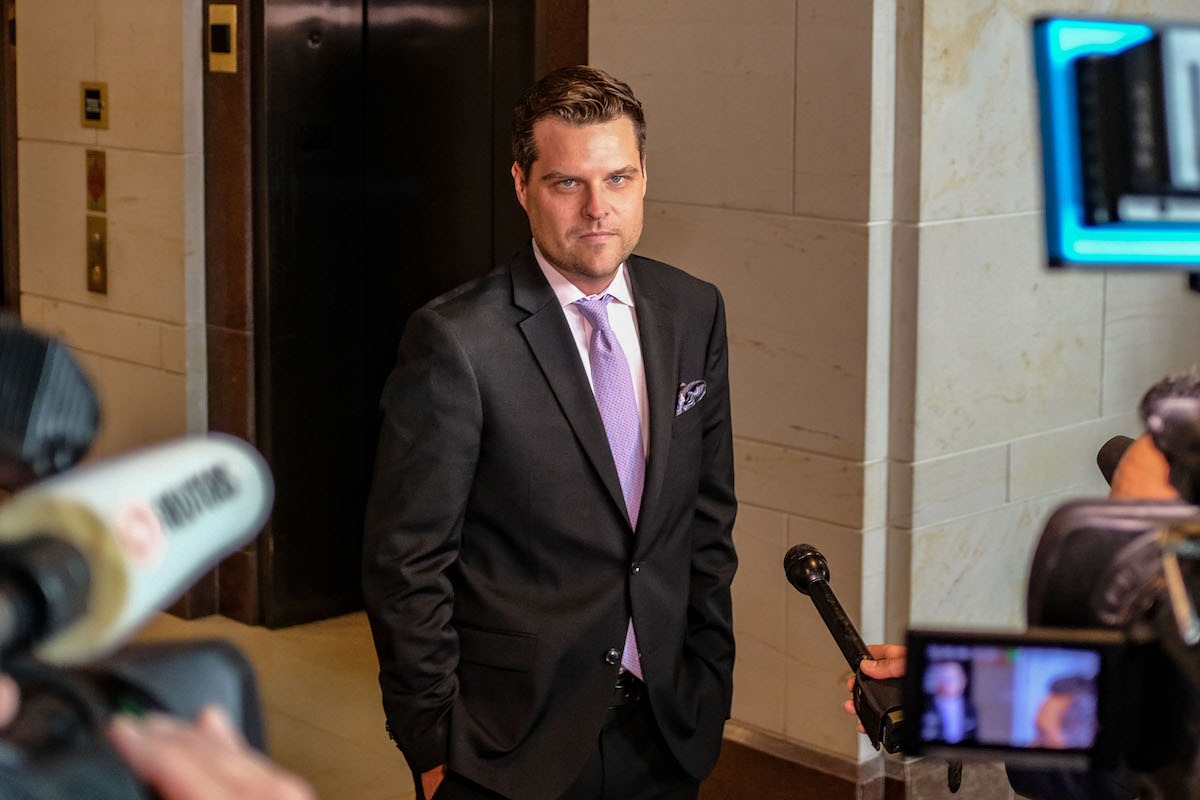 Matt Gaetz (R-FL), pauses while speaking to members of the media on Capitol Hill