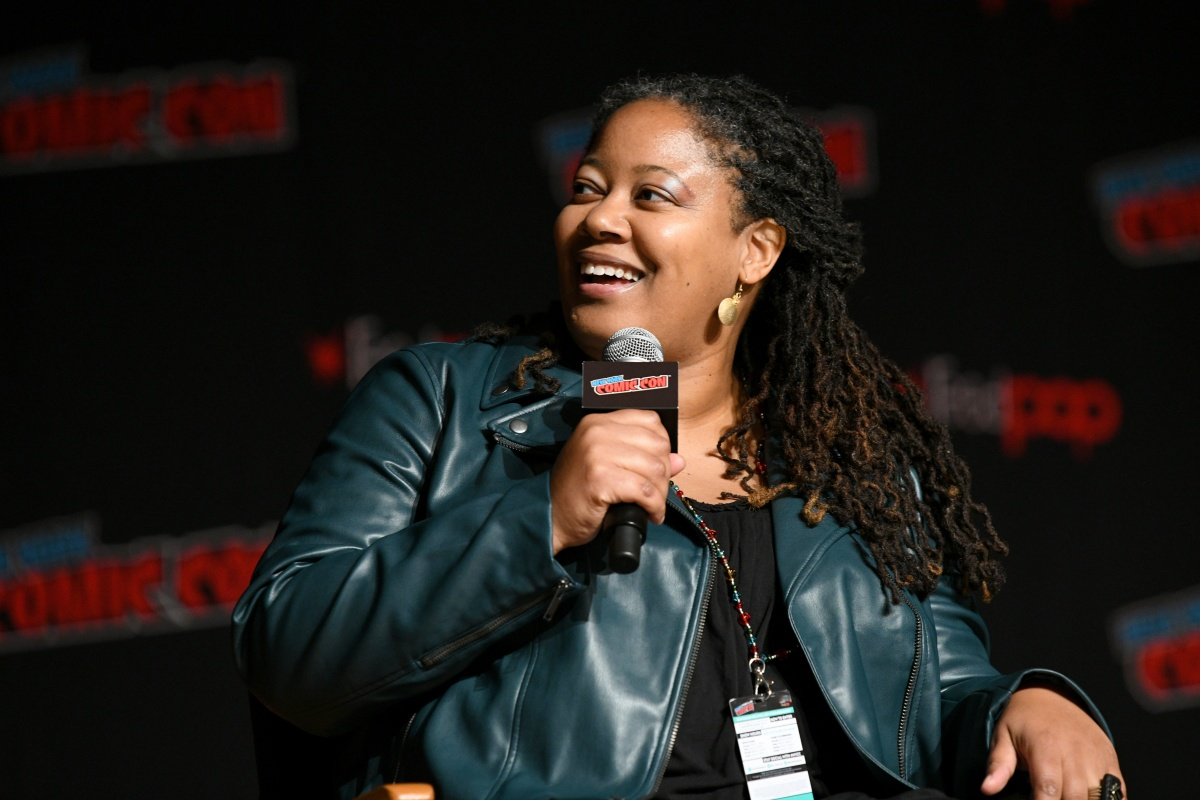 NEW YORK, NEW YORK - OCTOBER 04: N. K. Jemisin speaks onstage during the DC Nation panel during New York Comic Con 2019 - Day 2 at Jacobs Javits Center on October 04, 2019 in New York City. (Photo by Bryan Bedder/Getty Images for ReedPOP)
