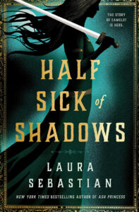 """""""Half Sick of Shadows"""" by Laura Sebastian. Shadow woman striding with a sword swung over her shoulder."""