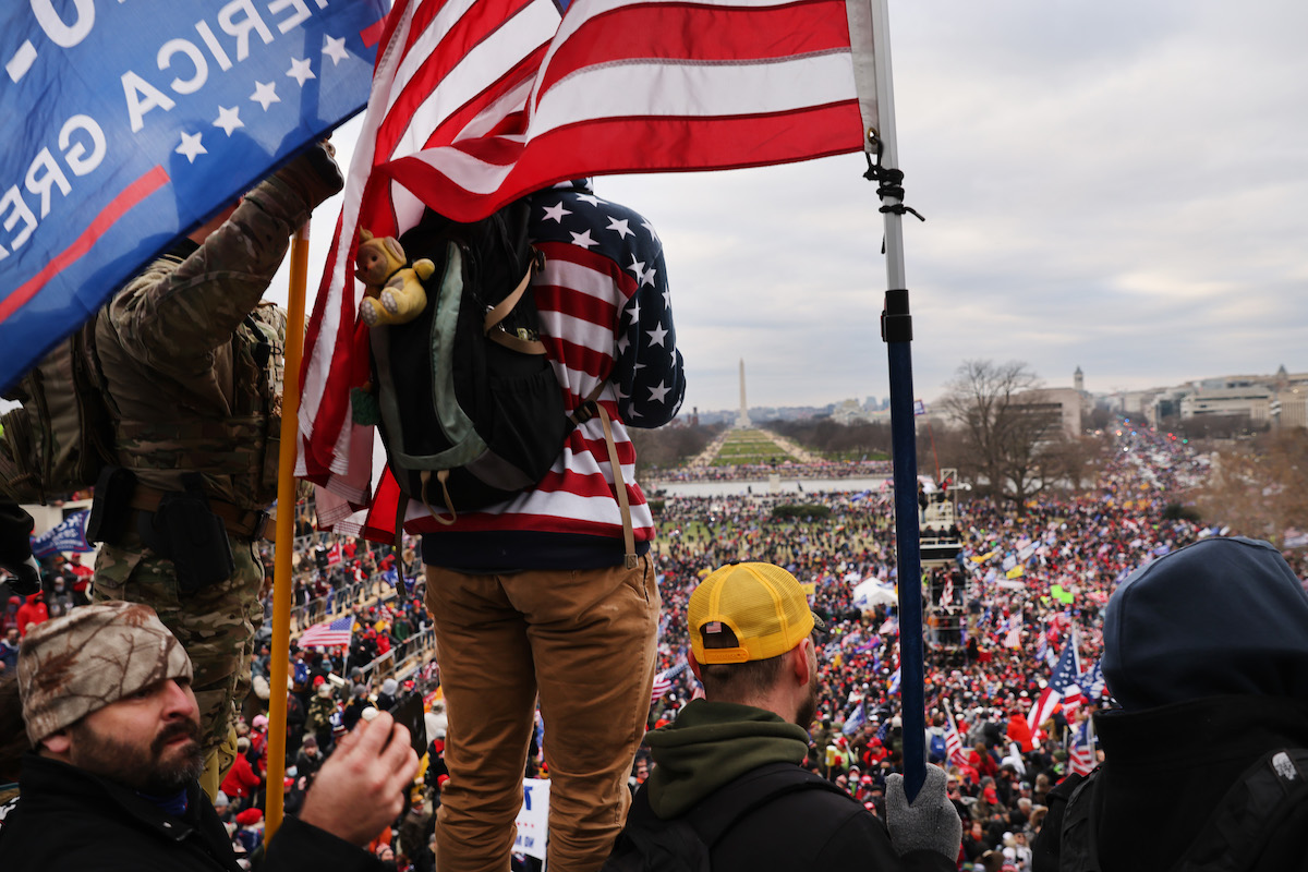 """Trump supporters gather outside the U.S. Capitol building following a """"Stop the Steal"""" rally on January 06, 2021"""