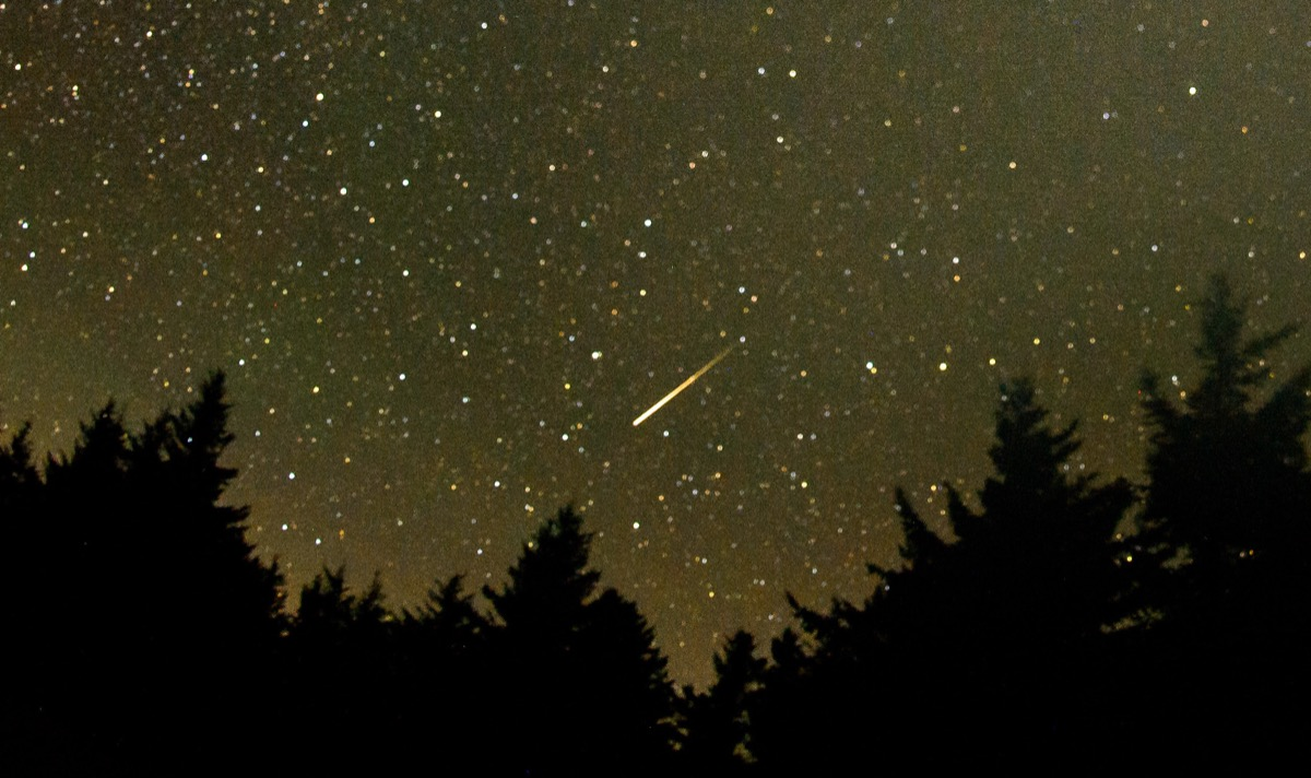 In this 30 second exposure, a meteor streaks across the sky during the annual Perseid meteor shower Friday, Aug. 12, 2016 in Spruce Knob, West Virginia. Photo Credit: (NASA/Bill Ingalls)