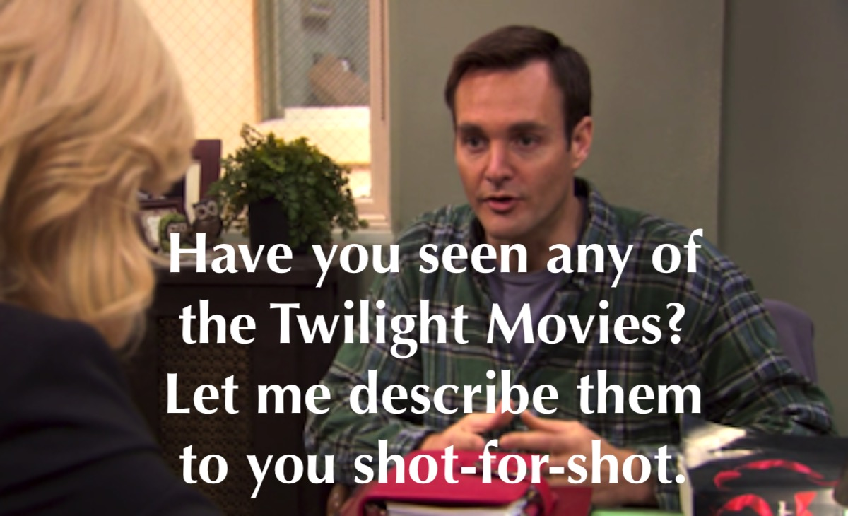 Will Forte offers to describe Twilight movies shot for shot on Parks and Recreation.