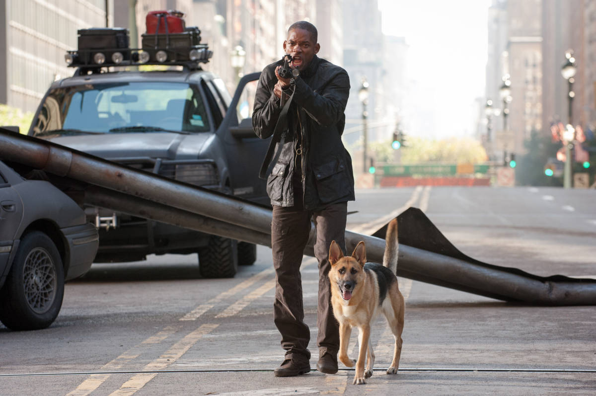 Will Smith aiming a gun and shouting in I Am Legend.