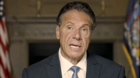 Andrew Cuomo speaks during a pre-recorded video statement