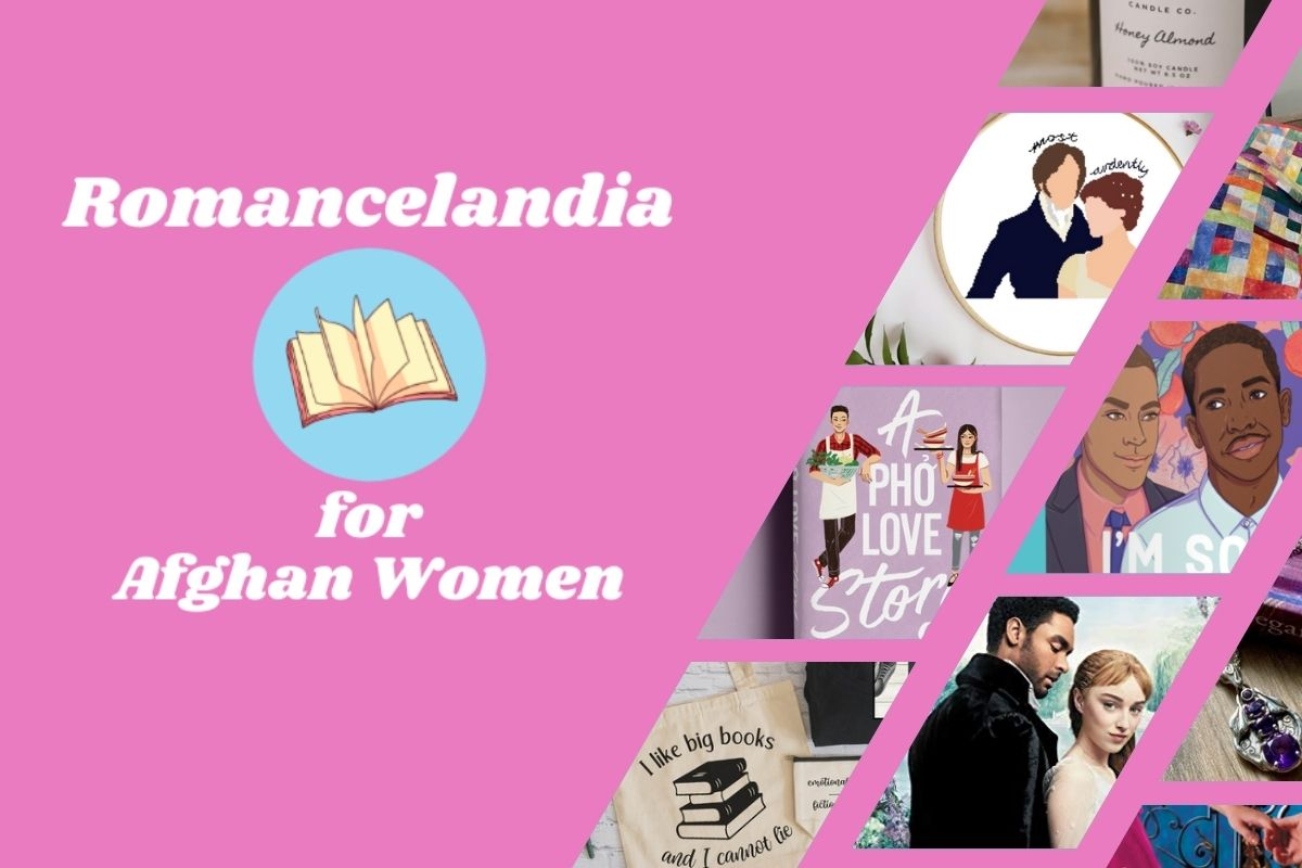 """Logo for """"Romancelandia for Afghan Women"""" alongside collage of items in the auction. (Image: Romancelandia for Afghan Women, and Alyssa Shotwell.)"""
