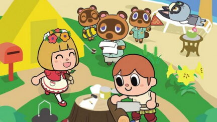 Animal Crossing manga cover image featuring villagers cutting wood, and Tom Nook, Timmy, and Tommy watching in the distance.