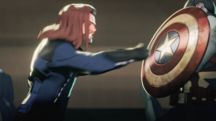 Bucky and Steve fighting