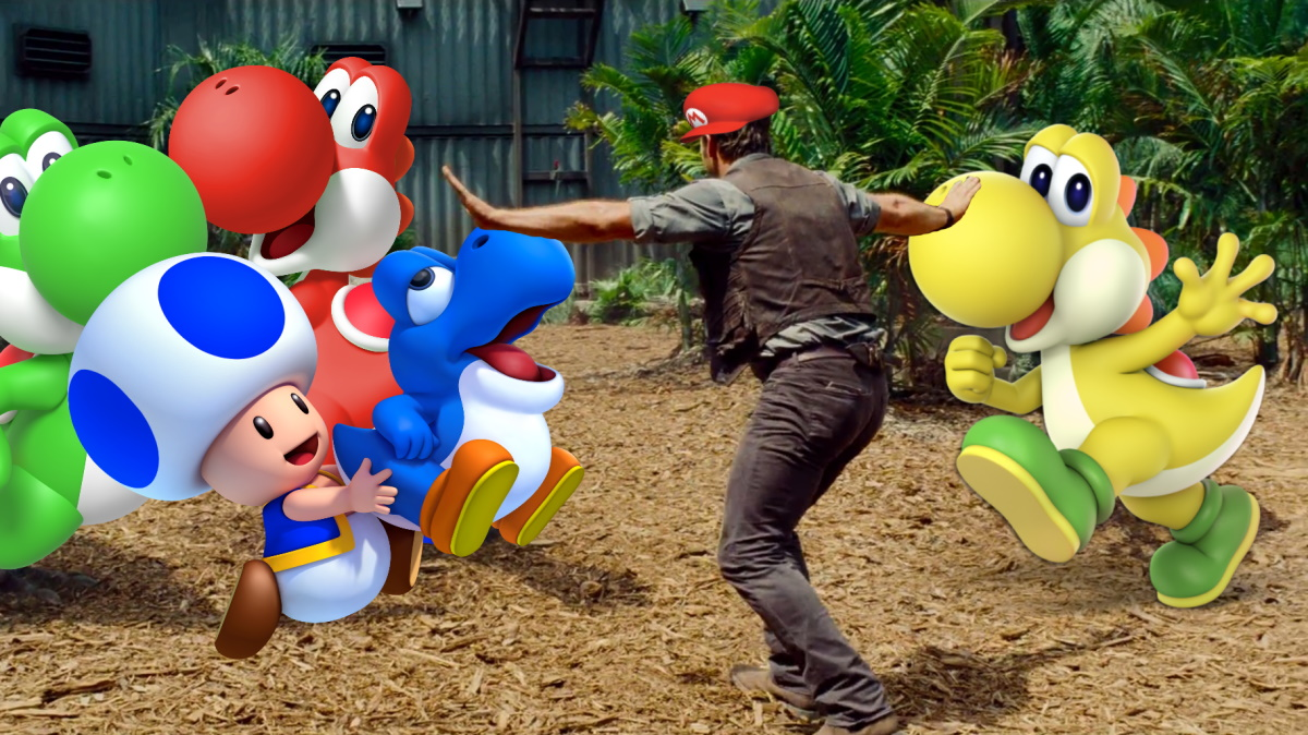 Chris Pratt in Jurassic World, holding off raptors, with a Mario hat, and the raptors are replaced by Yoshis and Toad.