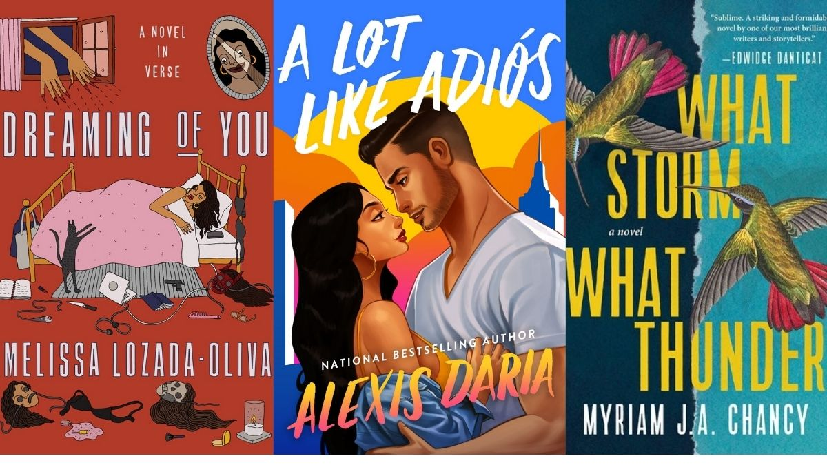 Three books covers for this list of Latin American books that came out oct/sept 2021. (Image: (Astra House, Avon Books, and Tin House Books.)