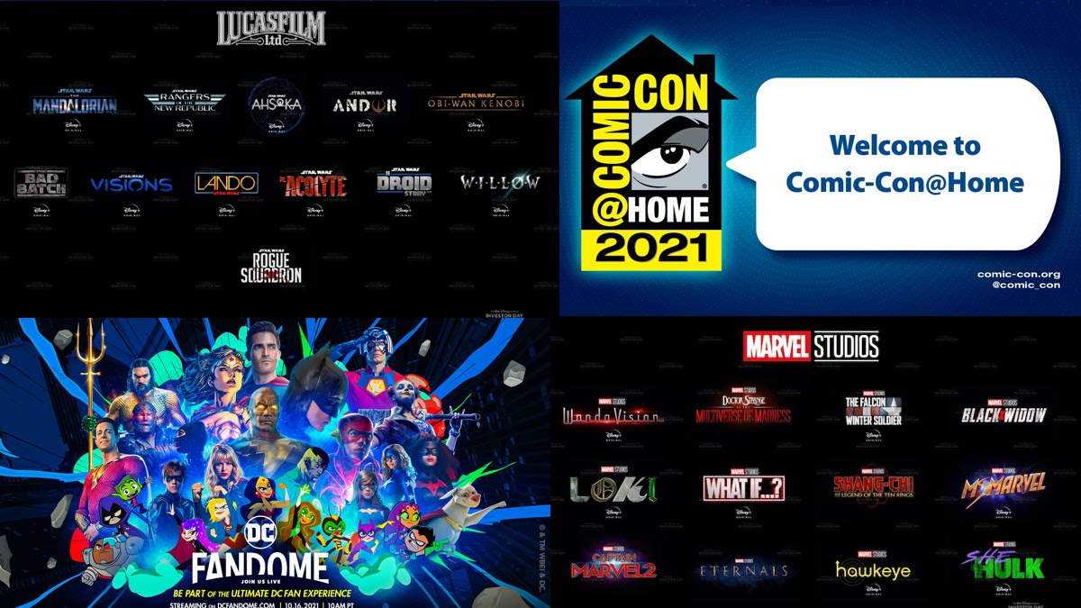 Compilation of online fan events Disney investor day, Comic-Con at Home, and DC Fandome.