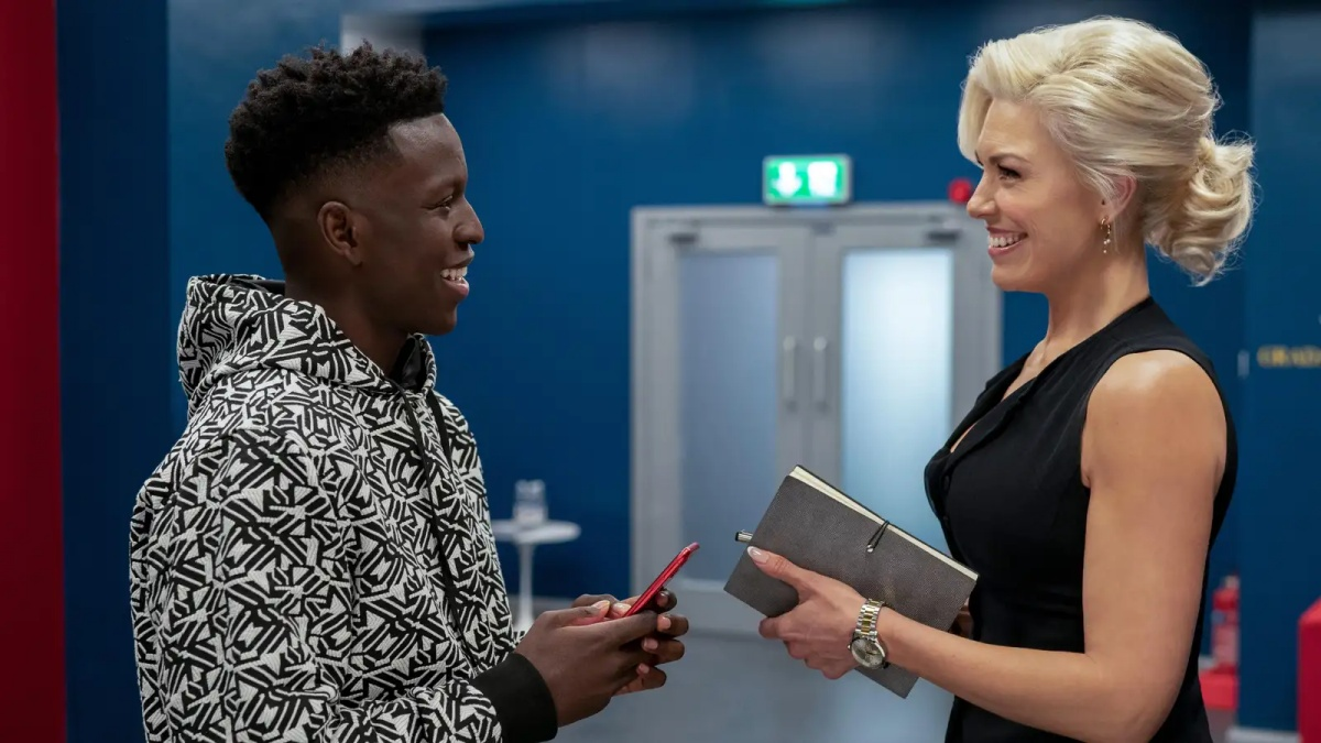 Toheeb Jimoh and Hannah Waddingham on Ted Lasso as Sam and Rebecca