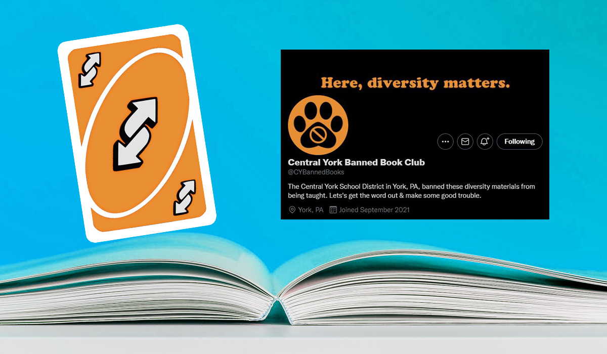 Logo of York Banned Bookclub, reverse uno card (but orange) floating above an open book. (Image: Alyssa Shotwell.)