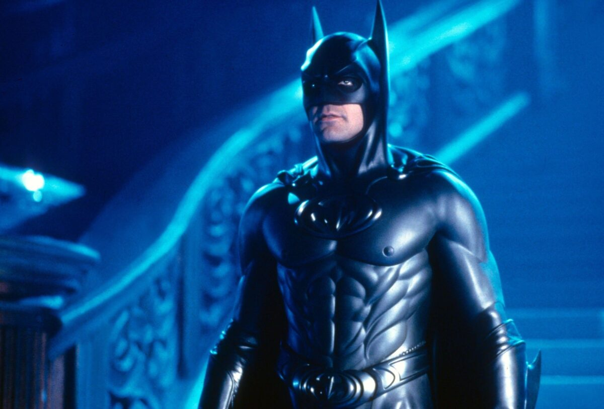 George Clooney as Batman standing with his nipples out in Batman & Robin
